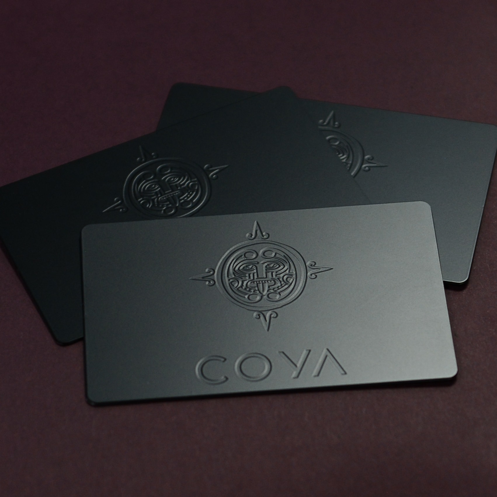 Coya Matt Black Metal Cards