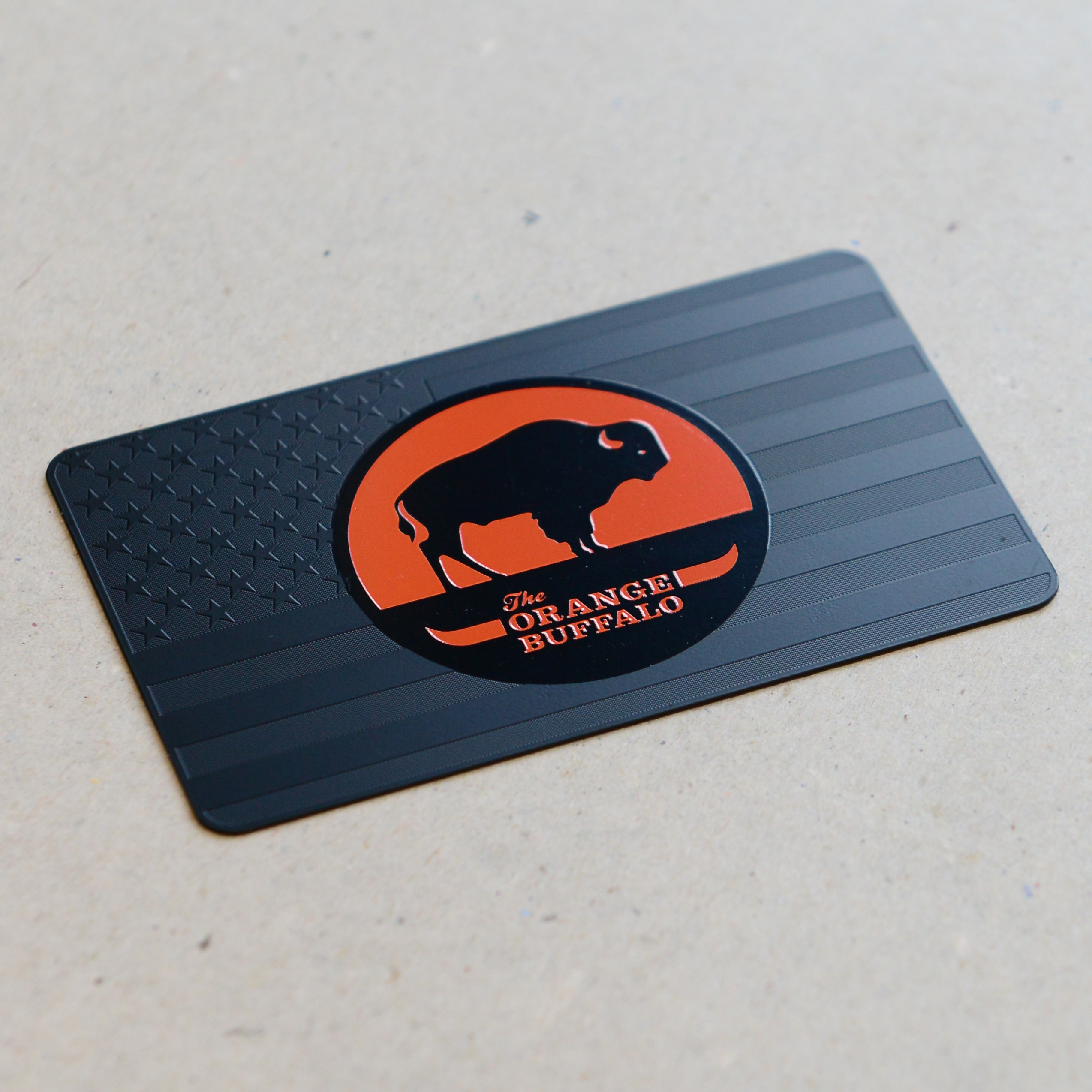 Matt Black Metal Cards - Orange Buffalo