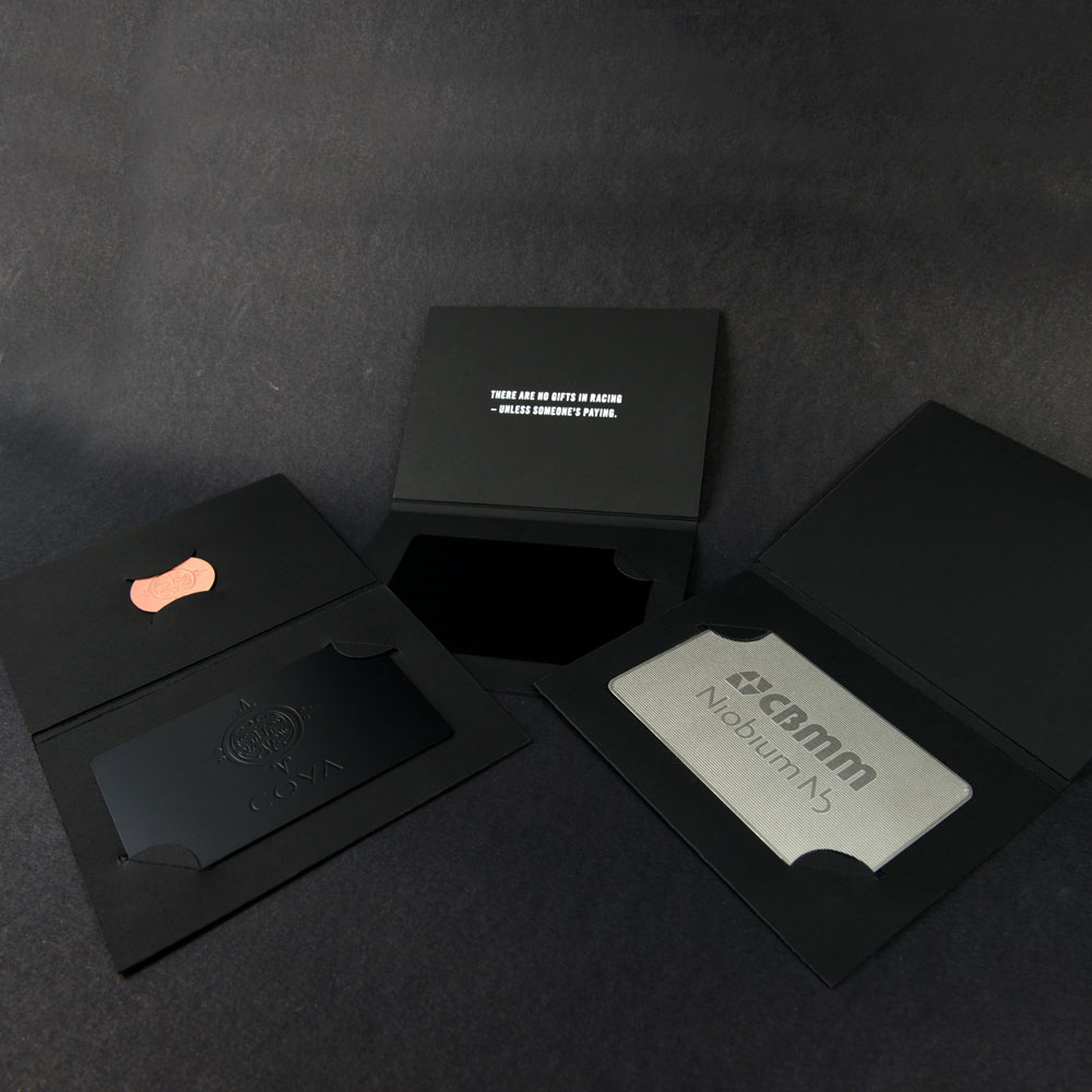 Metal card presentation wallets